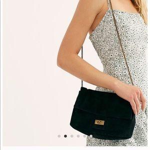 Free People Slouchy Suede Shoulder Bag in black